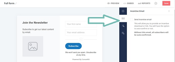 Add an incentive email to grow your email list