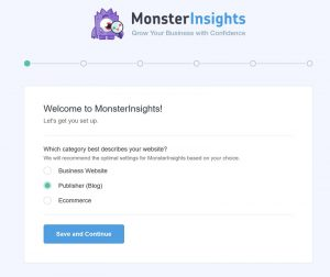 Screenshot showing how to use MonsterInsights to connect a blog to Google Analytics