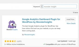 Screenshot of plugin to connect your blog to Google Analytics