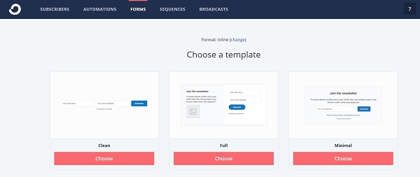 Select a template for your form to grow your email list